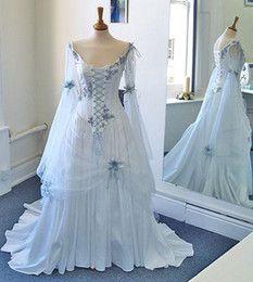 Wholesale Vestidos de novia medievales mangas largas blanca elegante de la gasa…
