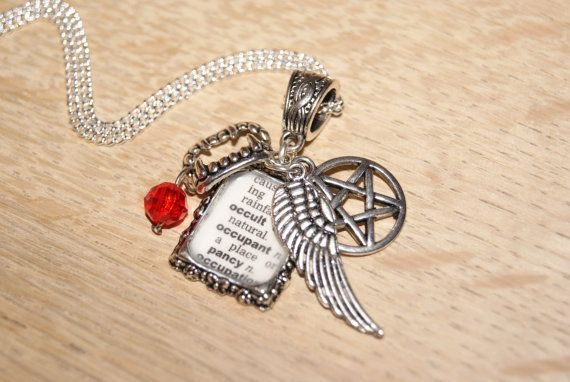 Supernatural Inspired Necklace - Angel/Vampire/Demon - Recycled Dictionary Necklace with Charms
