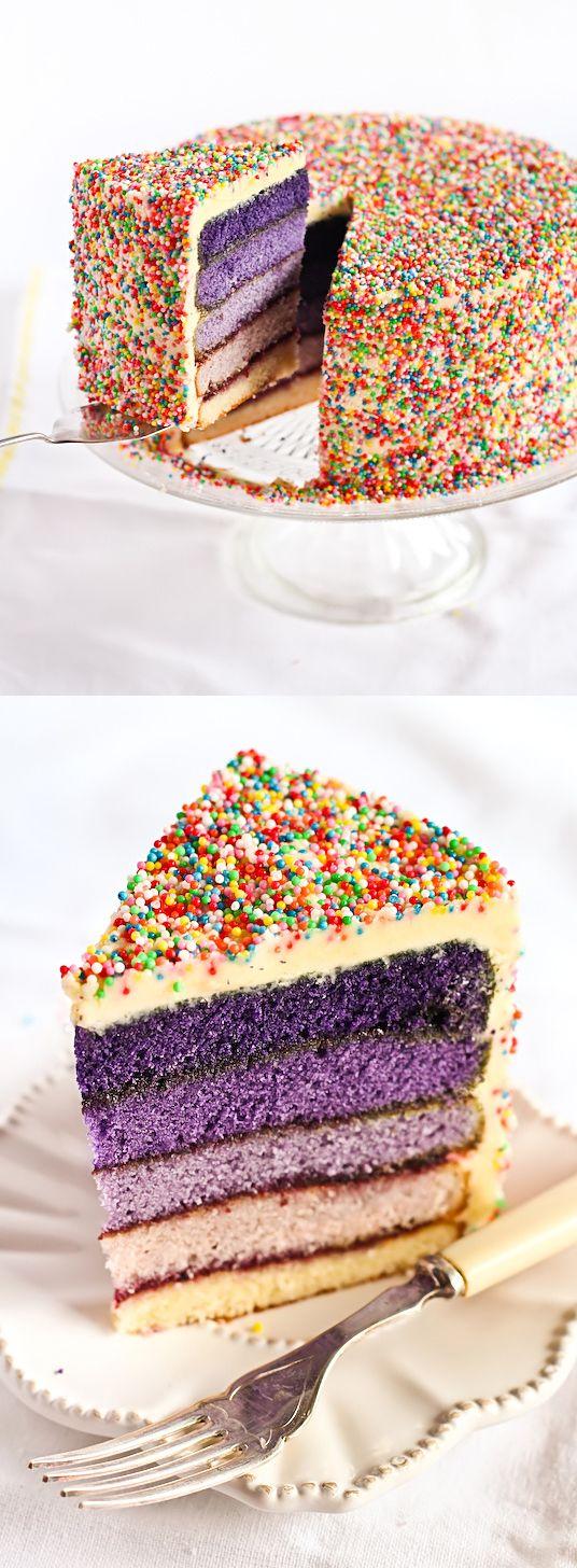 beautiful cake!: Ombre Cakes, Layered Cakes, Cakes Ideas, Food, Purple Cakes, Sprinkle Cakes, Confetti Cake, Birthday Cakes, Sprinkles Cakes