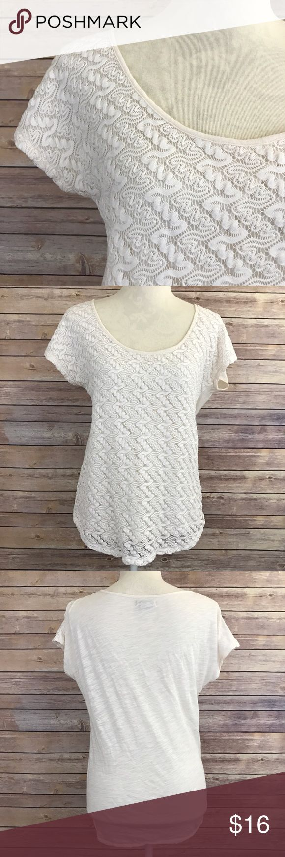"Lucky Brand Cream Crochet Short Sleeve Top L A1 Bust: 21"" Length: 26.5""  Condition: No Rips; No Stains  60% Cotton 40% Modal  📦I ship orders within 24 Hours! {Except Weekends}📦  🚫No Trades🚫No Holds🚫 Lucky Brand Tops Tees - Short Sleeve"