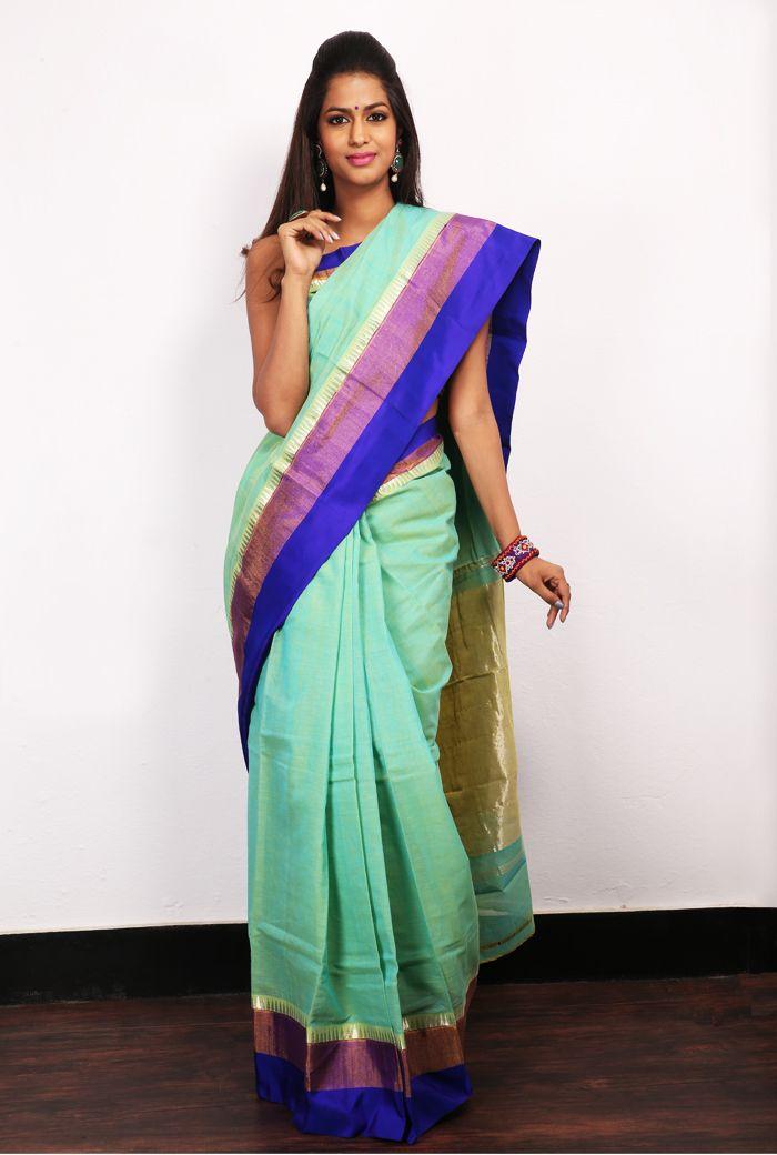 Beige Banaras sari with red jute border. #fashion    #Banaras   #Sarees   Visit us at:- http://mamathatulluri.com/e-store