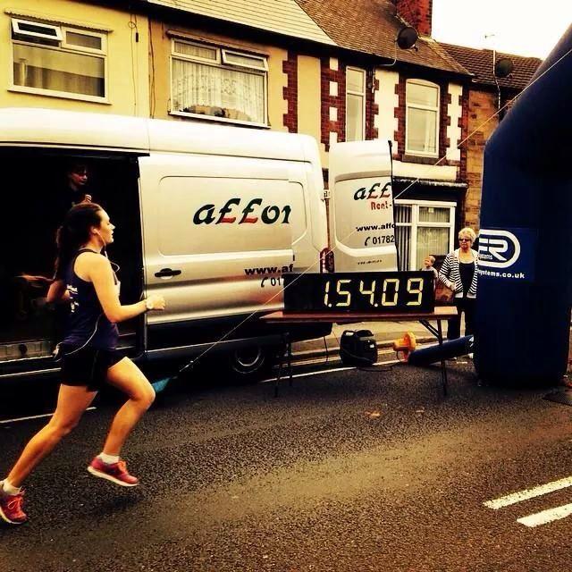 MK's Chrissie reaching the finishing line! #halfmarathonfinish #chesterfieldandderbyshirehalfmarathon #2014