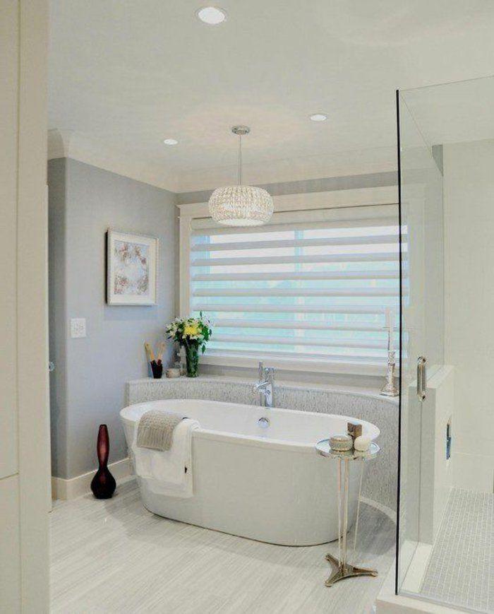 Blanc Store Venitien Ikea Store Venitien Dans La Salle De Bain Couleur Blanc Sol En Lino Banc Bathrooms Remodel Beautiful Bathrooms Bathtub Design