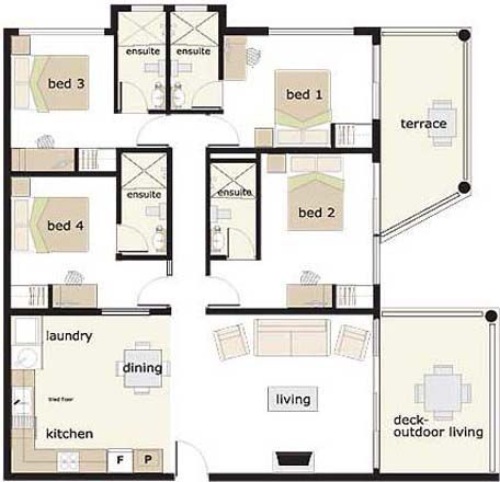 Awesome 4 Bedroom House Floor Plan (1 Story)