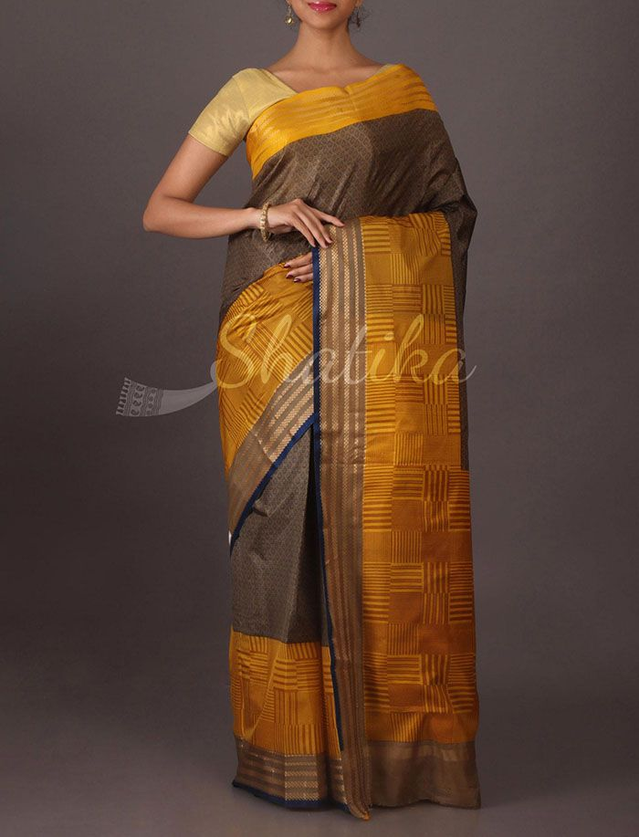 Sanjana Double Color #PrintedSilk #Saree in Mustard Brown