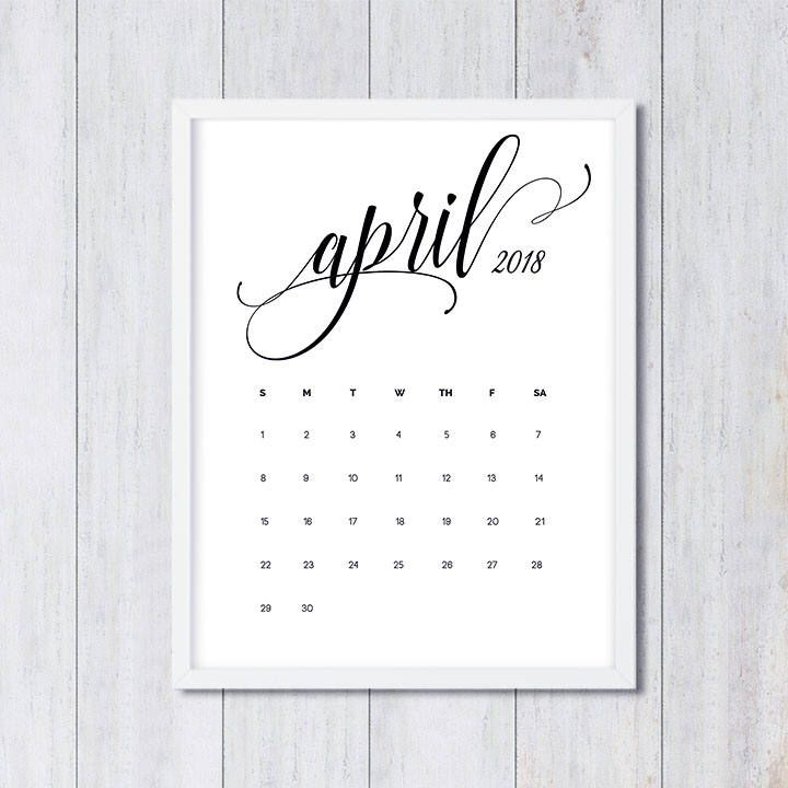 April 2018 printable pregnancy baby announcement calendar social media flat lay photo prop due date save the date digital file download by instadesignstudio on Etsy https://www.etsy.com/listing/535419264/april-2018-printable-pregnancy-baby