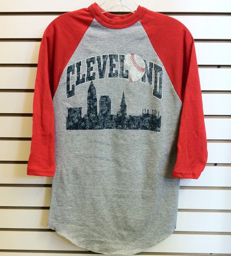 Want this! So cute! 100% cotton jersey, 3/4 raglan sleeves with Navy and White Cleveland Baseball Skyline Design!