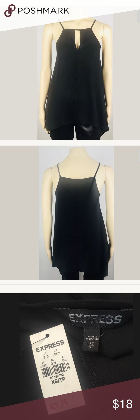 """New Express Sheer Top XS Black Item: New Express Top  Color: Black  Size: XS  Style: Sheer, longer on sides, splits on the sides  Armpit to armpit: 16""""  Sleeve length: Sleeveless  Shoulder to bottom front: 22"""" long in center from top to bottom, 30"""" long on sides from top to bottom  Material:x 100% Polyester  Condition: The Top is new with tags. Thank you for viewing this listing! Express Tops"""
