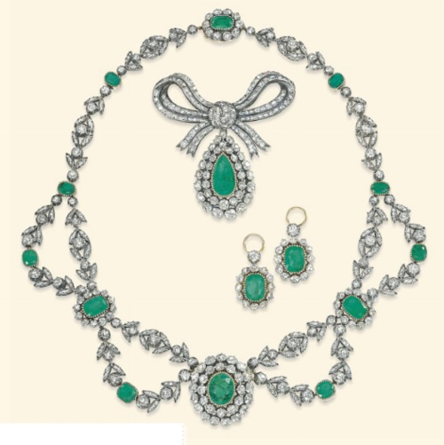 Antique Emerald And Diamond Parure Mounted In Silver And Gold   c.19th Century