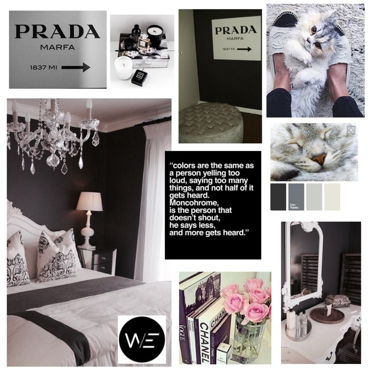 Monochrome main bedroom with fashion forward decor as accessories