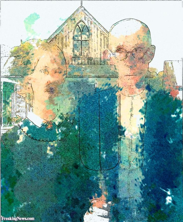 Abstract American Gothic Painting