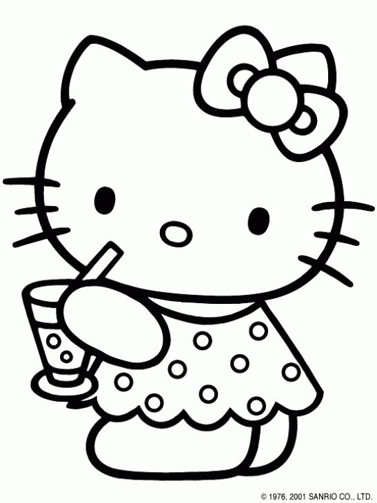 sweet hello kitty drinking juice coloring page for girls