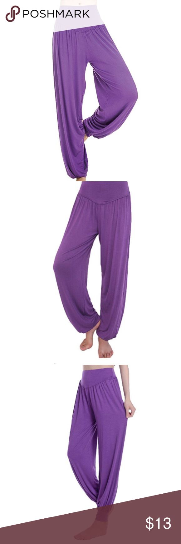 "Harem pants purple boho festival rave burning man Awesome purple Aladdin pants! Very Soft cotton and spandex , super comfy great for yoga, music festivals concerts raves and burning man ! 11"" waist lying flat 25-30"" waist, elastic waistband. 36"" long and 24"" inseam. Can wear long or bunched at the knee. Tags: mc hammer genie princess jasmine disney unif dollskill edc edm rave iheartraves boho hippie hippy bohemian tribal yoga meditation ocean moon spandex rave mi gente lip service rave ready…"