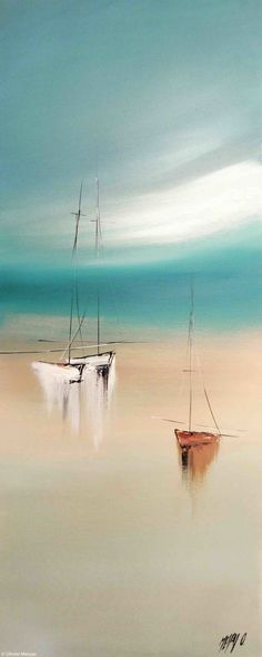 Sérénité III - Painting,  40x2x100 cm ©2015 by Olivier Messas -                                                                        Contemporary painting, Canvas, Boat, Sailboat, segler, sail, sailing, mer, sea, voile, voilier