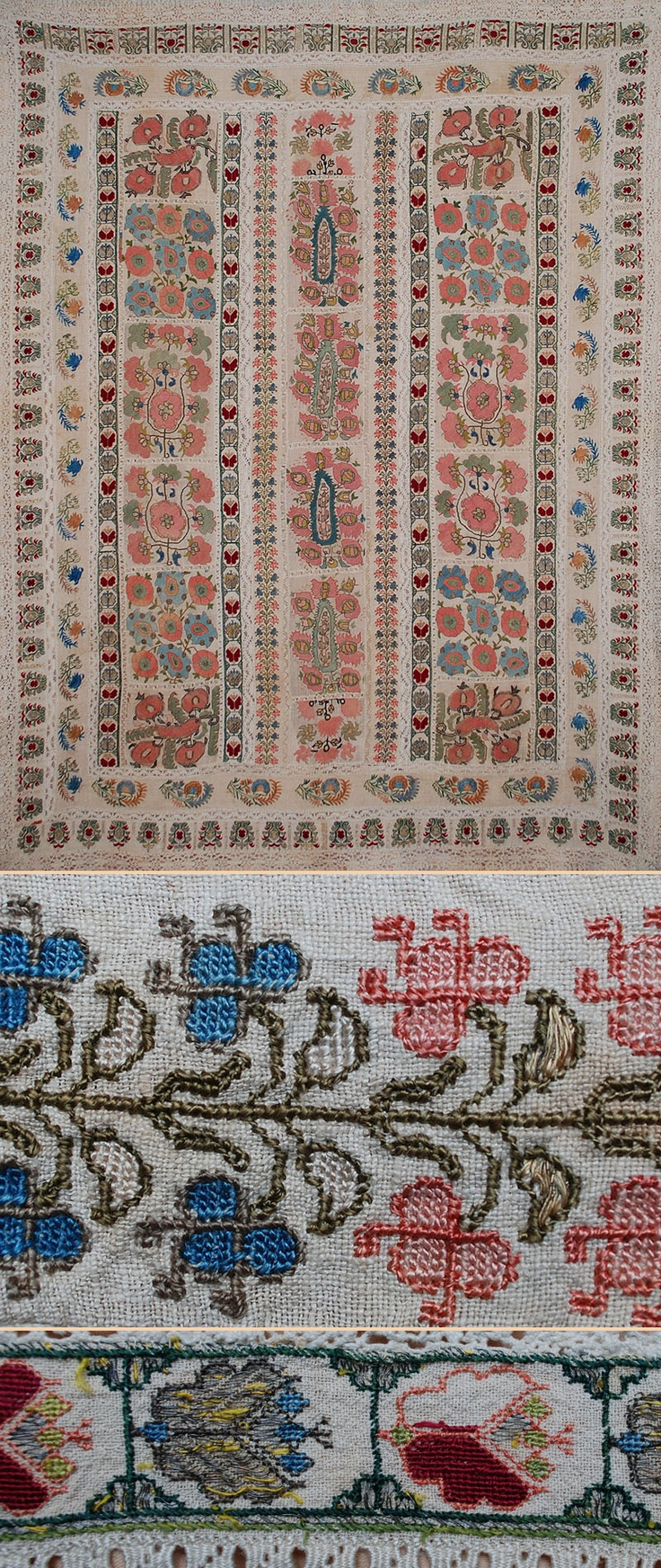 """Antique Turkish Ottoman Silk Embroidery on Linen. Used as a Bed Cover. Ottoman Dynast . 1453-1922A.D. Size 70"""" x 50""""."""