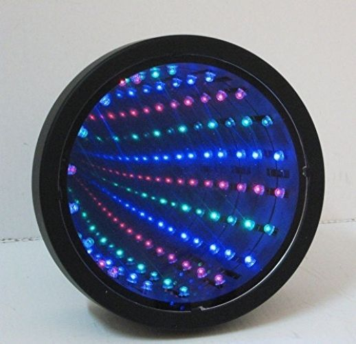 Mirror infinity tunnel lamp led light sensor desk decor office gadget illusion