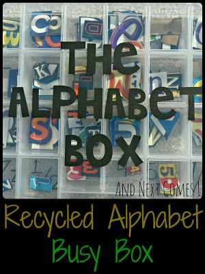 Recycled Alphabet & Number Busy Box from And Next Comes L