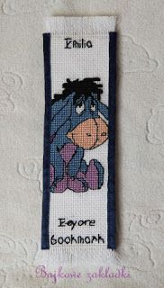 Eeyore bookmark cross stitch Zakładka do książki Kłapouchy haft krzyżykowy