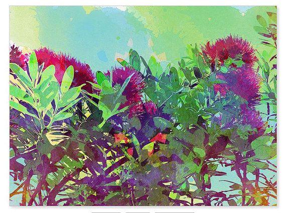New Zealand pohutakawa tree print watercolor fine by NewCreatioNZ
