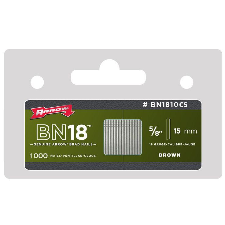 "Arrow Fastener BN1810CS 5/8"" 15mm 18 Gauge Brad Nails 1000-ct"