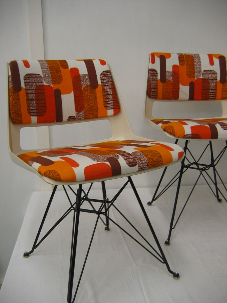 vintage retro dutch Gispen fibreglass dining chairs reupholstered in vintage fabric on eames bases