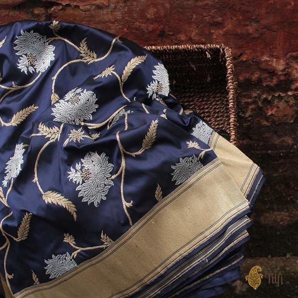 Navy Blue Pure Katan Silk Banarasi Handloom Saree
