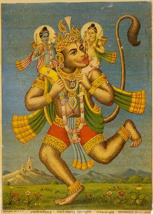 .Hanuman, Vishnu, Laxmi.