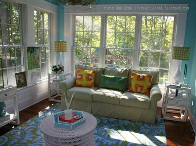 Teal And Yellow Sunroom