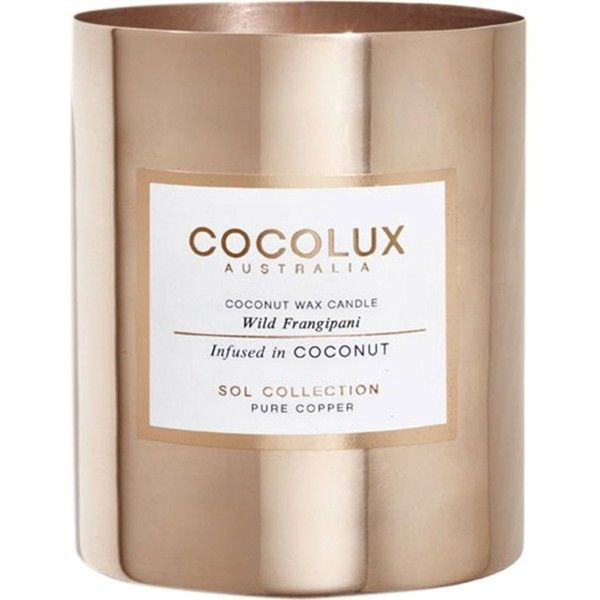 COCOLUX Wild frangipani copper candle 350g ($70) ❤ liked on Polyvore featuring home, home decor, candles & candleholders, copper home accessories, floral scented candles, scented candles, copper candle and copper home decor