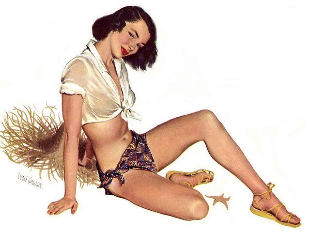 =-=Ward Brackett: 1950S Calendar, 50S Pinup, Calendar Girls, Foto Pin-Up, August 1952, Vintage Pinup, Photo Shared, Pinup Girls, Pinup Art