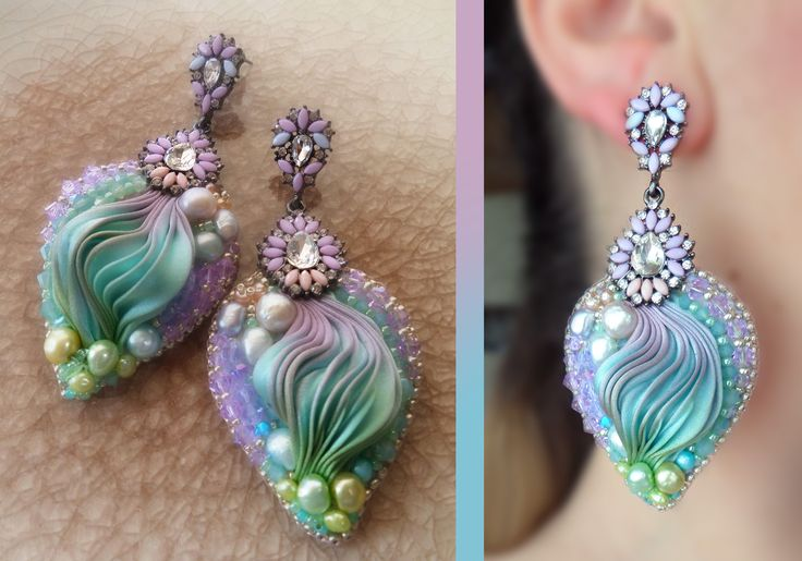 EARRINGS Design by Serena Di Mercione --- beadembroidery, shibori silk