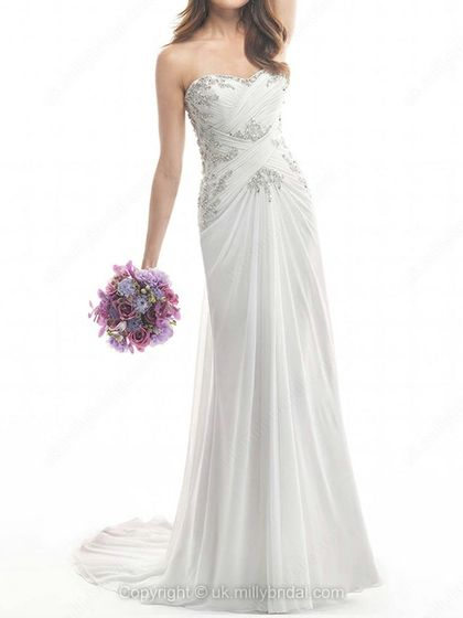 Sheath/Column Sweetheart Chiffon Sweep Train Ruffles Wedding Dresses -USD$245.89