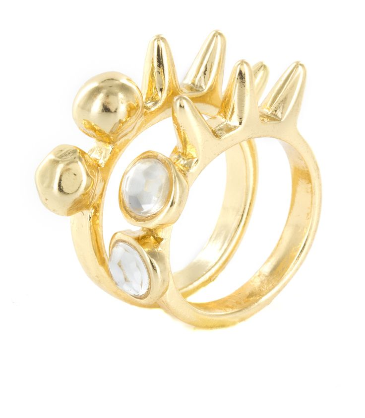 Golden Spikes And Rhinestone Stud Ring Set