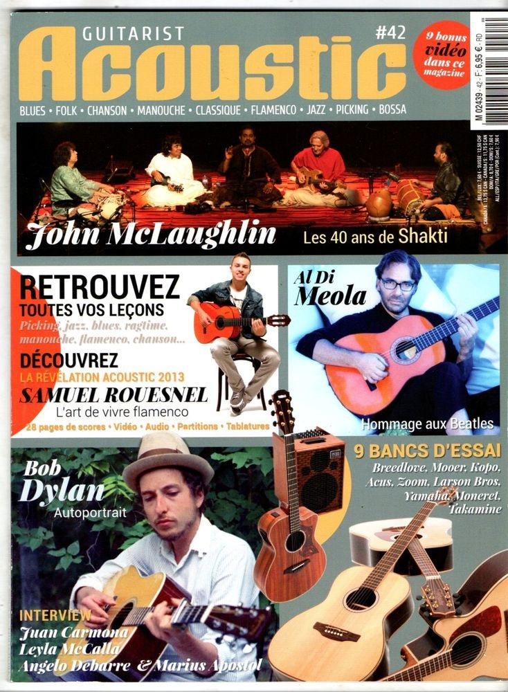 GUITARIST ACOUSTIC n°42 - BOB DYLAN/MCLAUGHLIN - NEUF/BLISTER + CD + PARTITIONS