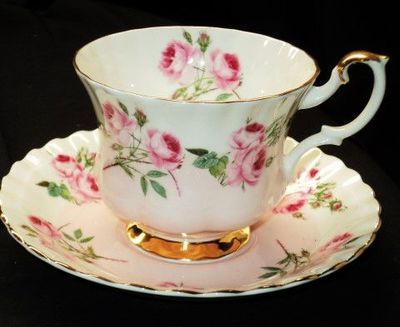 Royal Albert Pink Roses TEA CUP AND Saucer | eBay