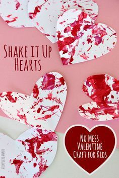 Shake it Up with this fun no mess Valentine craft for kids. Toddlers and preschoolers will love to make these fun hearts and you will love that there is no mess to clean afterwards!