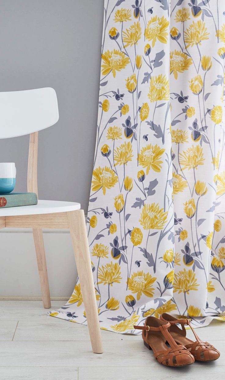 Grey and yellow curtains uk john lewis - Chrysanthemum Floral Curtains Upholstery Fabric Available Through Lorna Syson Or John Lewis Fresh Yellow And Cool Grey Colour Palette To Lighten Up Your