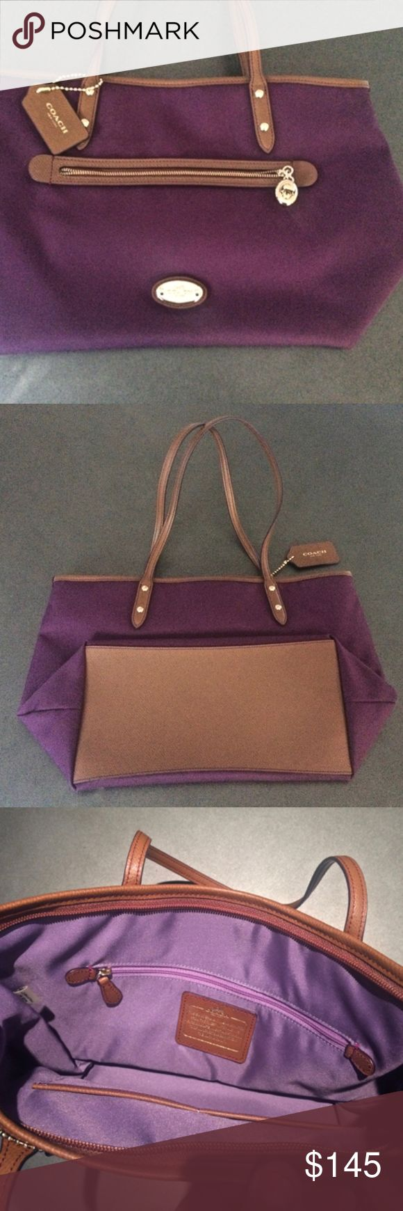 "New eggplant color Coach handbag Gorgeous Coach handbag, measuring 16""w x 11""h. New, with eggplant color exterior, and lavender inside. Absolutely beautiful purse Coach Bags"