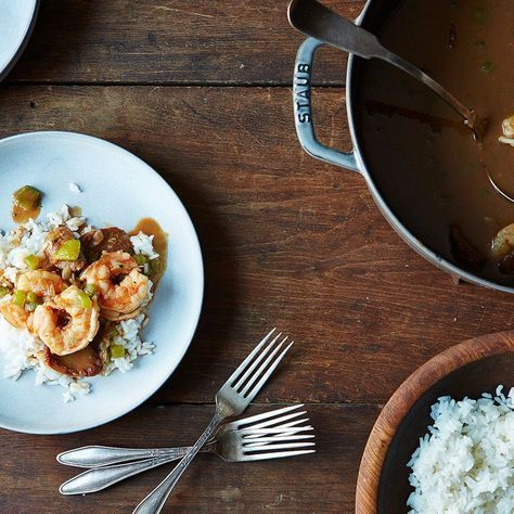 I used this recipe only for the concept on making the roux.  I used a recipe for gumbo from recipes.com.  No more standing by the stove for a hour.  Let's make the oven do all the work!  It got it to be dark mahogany without burning it!!    Alton Brown's Shrimp Gumbo Recipe on Food52 recipe on Food52