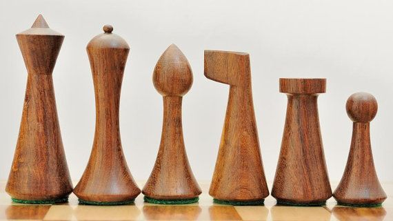 Reproduced Modern Mid Century Minimalist Hermann Ohme wooden weighted Chess Set 20% OFF use coupon code CHESSBAZAAR on Etsy, $79.99