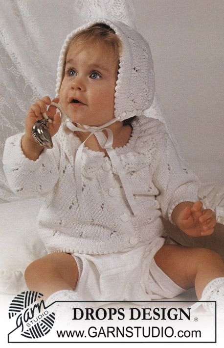 "Drops Jacket in lace pattern with lace frill collar, bonnet and socks in ""Safran"". ~ DROPS Design"