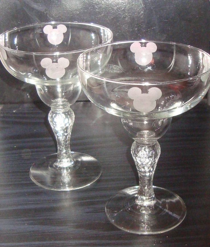 Mickey Mouse Etched Margarita Glasses - Mickey Icons - Set of 2 - Great Gift NEW