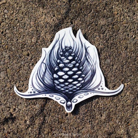 Pine Cone  Temporary Tattoo  Temporary Tattoo  by OctaviaTattoo