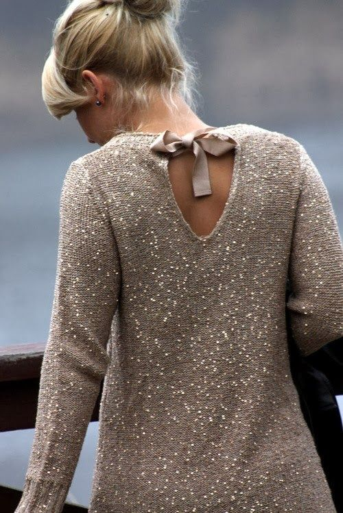 Back Tie Sequins Sweater - perfect holiday sweater