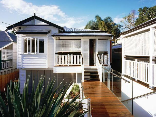 White Queenslander Home With Grey Windows Google Search