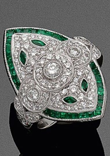 An Art Deco platinum, diamond and emerald ring. #ArtDeco #ring
