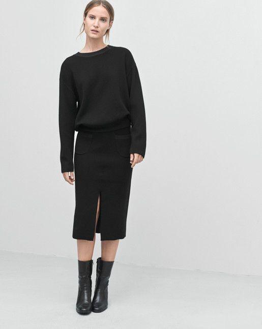 Bonded Knit Skirt Black Grape