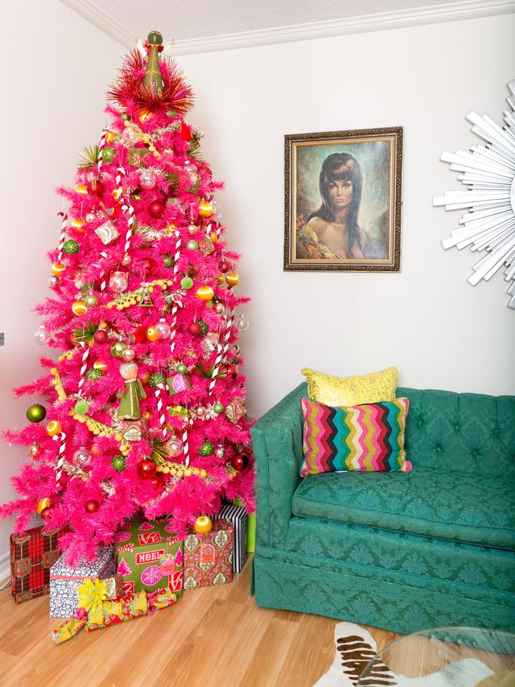 Ordinary 60s Christmas Tree Part - 13: @iamjenperkins Bright Pink Channels The 60u0027s With Fringe Balls And Vintage  Wrappers As Inspiration · Pink Christmas TreeChristmas ...