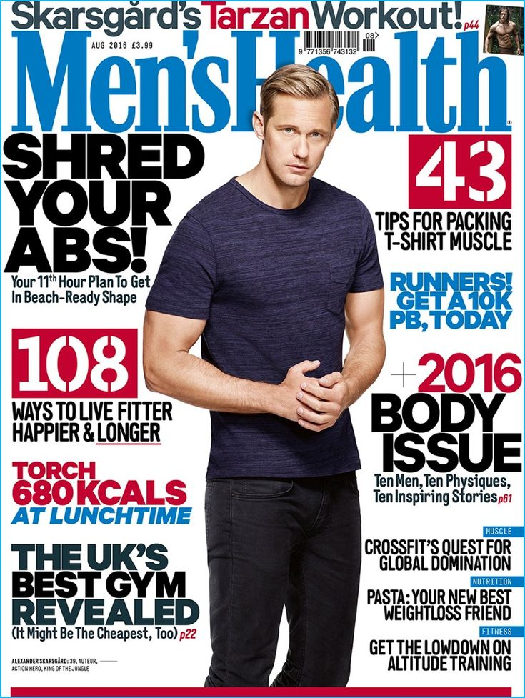 Alexander Skarsgård covers the August 2016 issue of Men's Health UK.