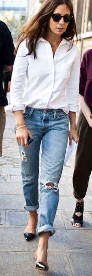 Boyfriend Jeans, Ripped Jeans, Fashion, Street Style, White Shirts, Boyfriendjeans, Classic White, Boyfriends Jeans, White Blouses